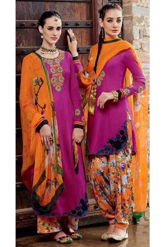 Ethnic Magenta Cotton Embroidered Patiala Salwar Kameez: