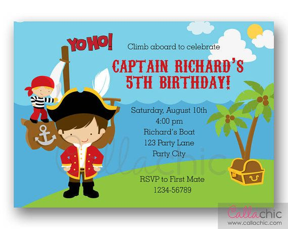 Pirate Invitation PRINTABLE - Boy Birthday Party - Captain with Ship, Crew, and Treasure