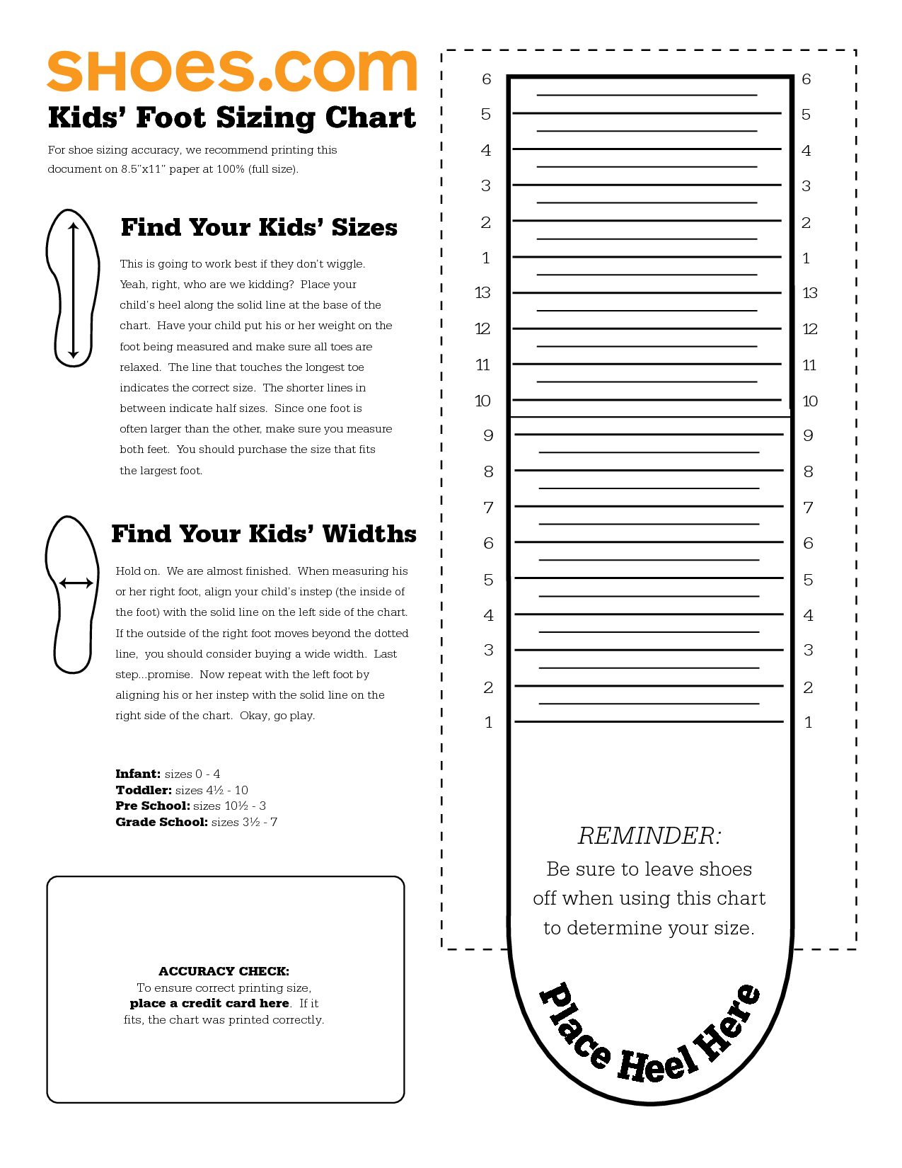 Kids nike printable shoe size chart scope of work template kids