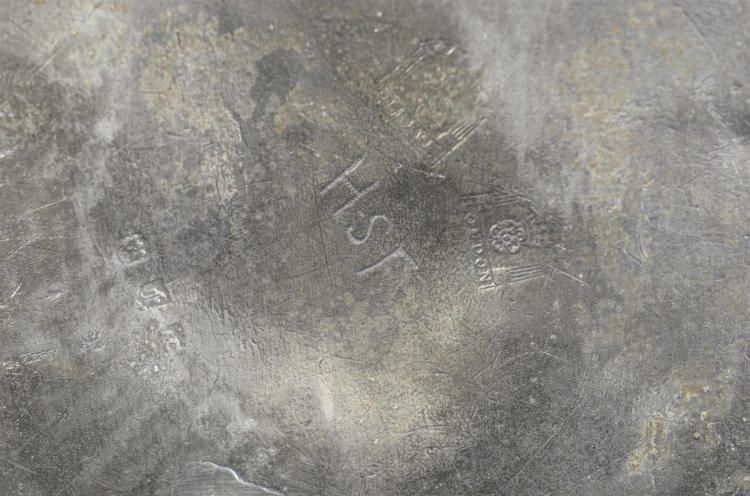 Alexander Cleeve & Son, London pewter basin, hallmarks and touchmarks from 1688-1763, 12' d, 3' high