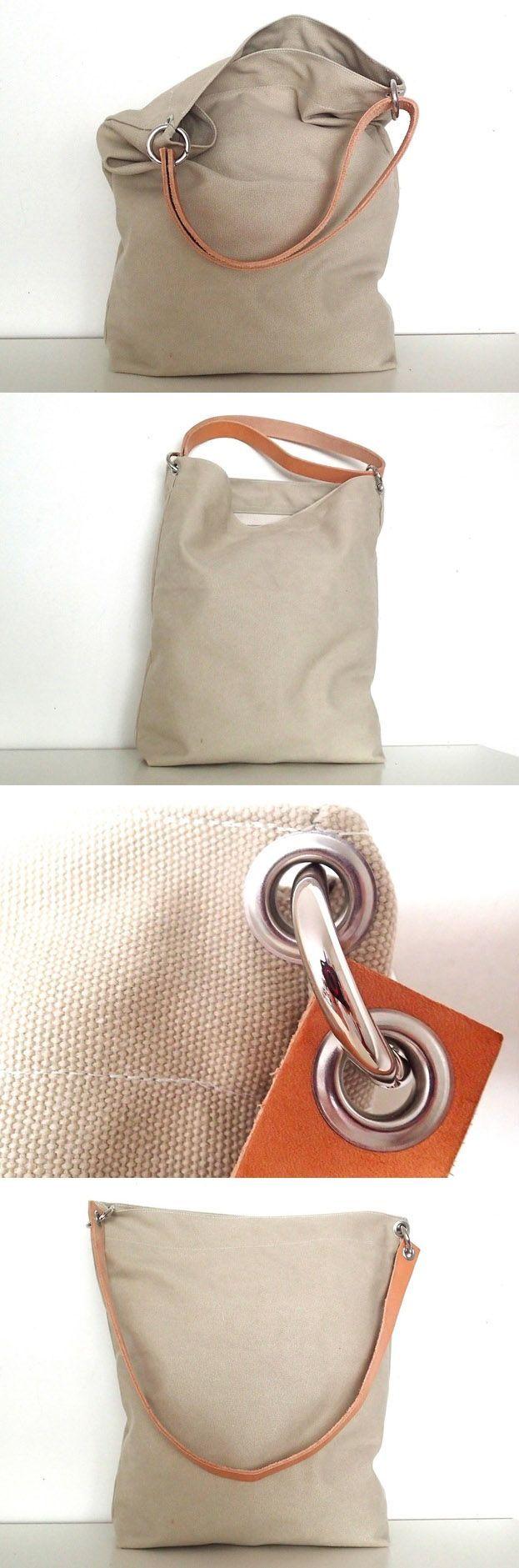 canvas tasche tessa hellbeige mit leder n hen taschen t schchen sewing bags pouches. Black Bedroom Furniture Sets. Home Design Ideas