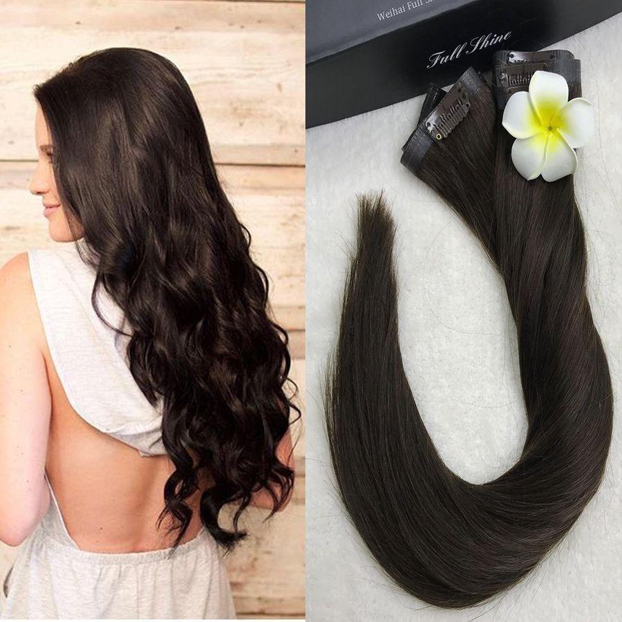 "8pcs 22"" 56cm 120g Clip in Human Hair Extensions Full Head"