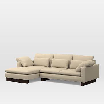 Harmony Exrta Deep Depth Set 6: Right Arm 2.5 Seater Sofa, Left Arm Chaise, Performance Tweed, Sand