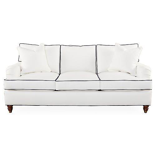 Kate 82 Welt Sofa White Navy Queen Size Sleeper Sofa Sofa Sleeper Sofa