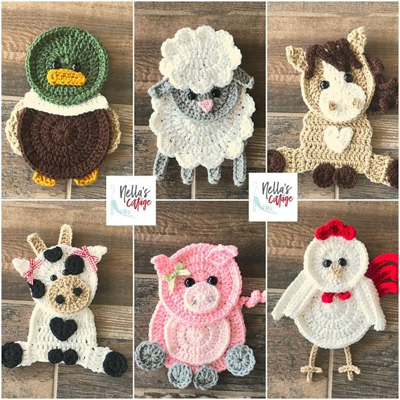 Crochet Pattern - Farm Animal Patterns - INSTANT PDF DOWNLOAD - Crochet Appliques - Applique Patterns - Horse - Cow - Pig - Duck -Chicken #picturesofbabyanimals