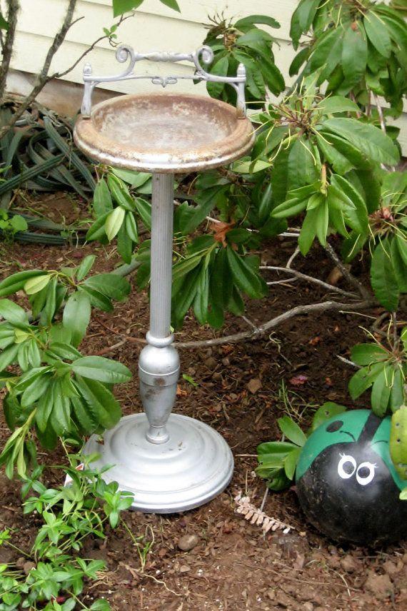Vintage Rustygold Standing Ashtray Repurposed By Heartsmilefarms 30 00 Garden Bird Feeders Bird Garden Bird Feeders