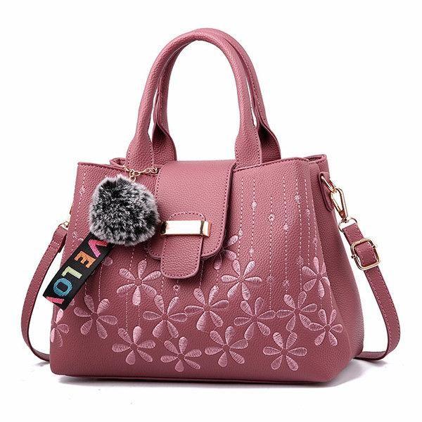 Women Embroidery Flower Three Layers Handbag  71e181265a468