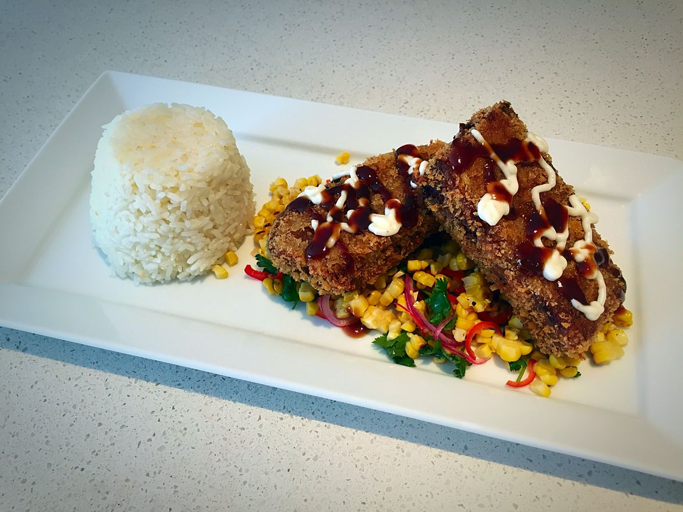 Crumbed Pork Belly Grilled Corn Salsa Garlic Rice Rafa S  # Muebles Rivelli