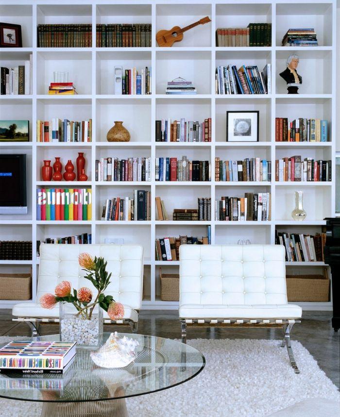 1001 ideas de decoraci n con librer as para tu casa - Librerias salon blancas ...