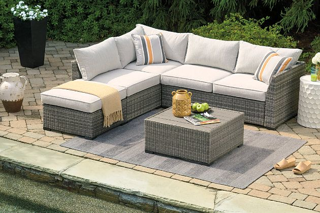 Cherry Point 4 Piece Outdoor Sectional Set Ashley Furniture Homestore In 2021 Contemporary Outdoor Furniture Patio Furniture Layout Contemporary Outdoor