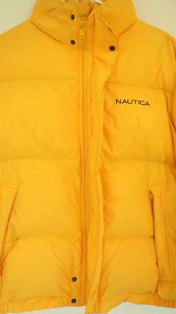 Nautica Down Feather Coat Jacket Puffy Size Small Yellow Warm Unisex Vintage Feather Coat Coats Jackets Jackets