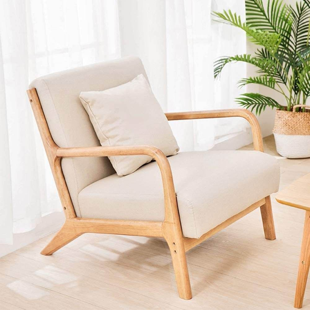 Lounge Arm Chair Mid Century Modern Accent Chair Wood Frame Armchair Beige In 2021 Mid Century Modern Accent Chairs Modern Accent Chair Wood Frame Arm Chair Comfortable living room chairs