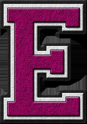 Presentation Alphabets Magenta Varsity Letter E