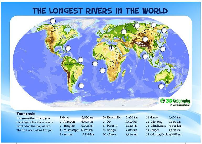 locating the world's major rivers | river worksheet | Rivers ...