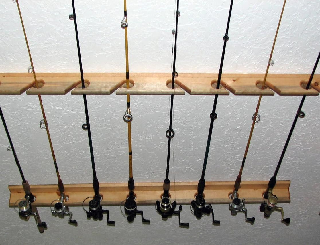 Fishing rod storage storage pinterest fishing rod for Fishing rod rack
