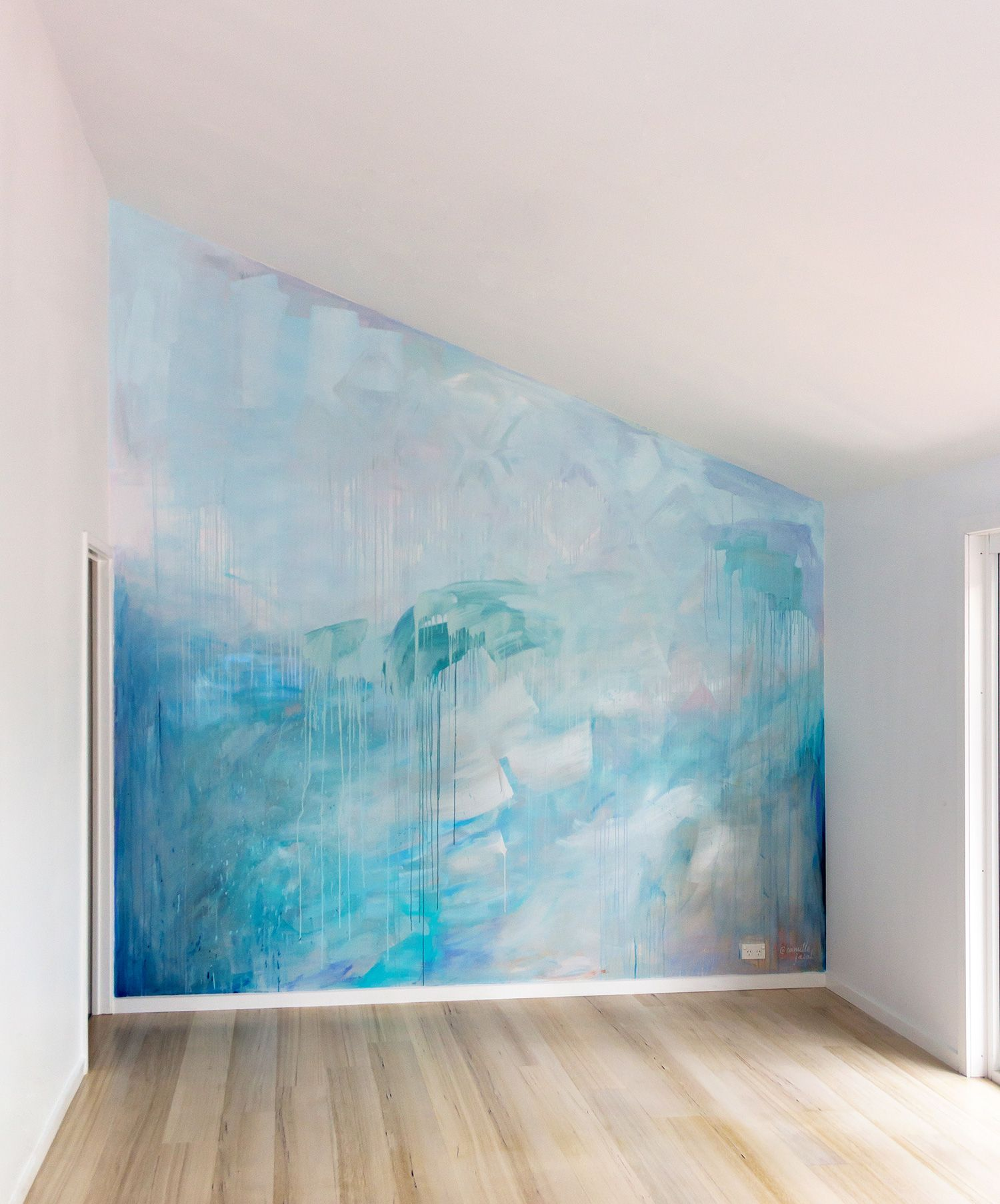 Ocean Water Painted Contemporary Abstract Mural In Pastel Blue Green And Metallic Paint Featuring A Wave Drips And Geometri Mural Wall Art Ocean Mural Mural