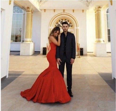 Schlichte Abendkleider Lang Rot Günstig Meerjungfrau Abendkleid Online_Brautkleider,Abiballkleider,Abendkleider