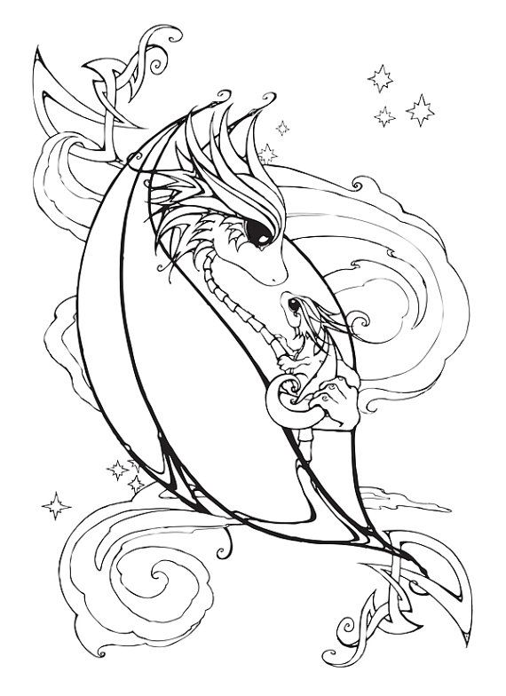 Mother And Baby Dragon Coloring Page Etsy In 2021 Dragon Coloring Page Baby Dragon Tattoos Coloring Pages