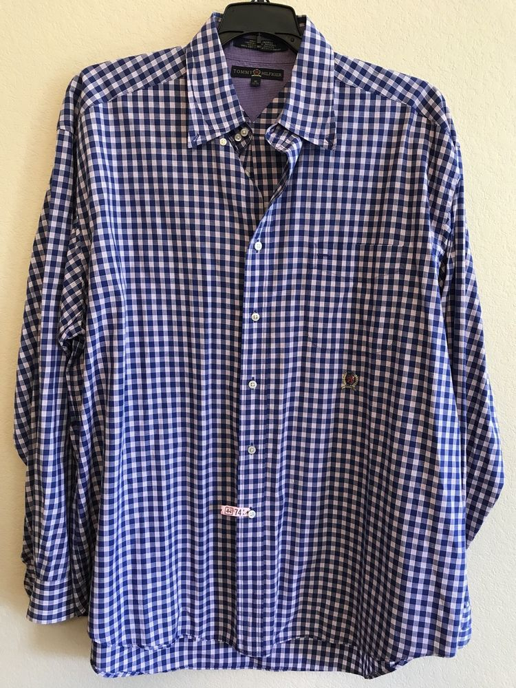 88e62fca Tommy Hilfiger Men's XL Shirt Royal Blue Plaid Button Front Dress Long  Sleeve #TommyHilfiger #ButtonFront