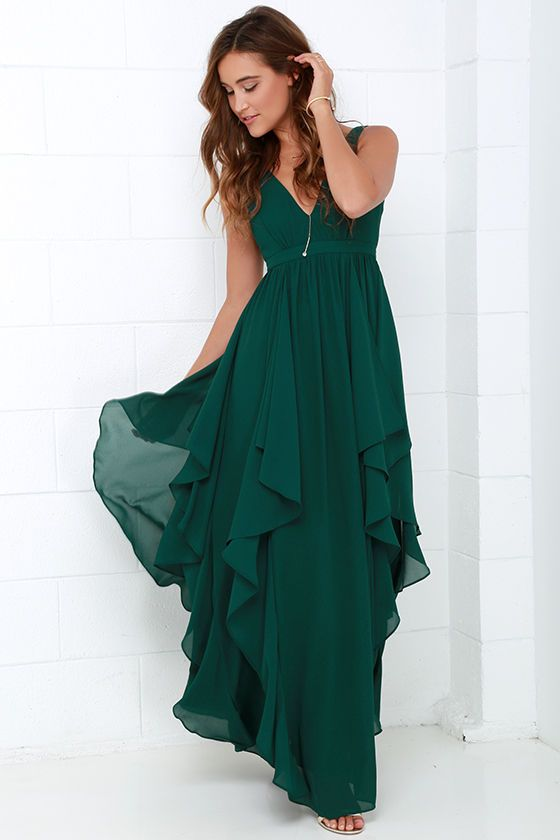 Water-falling for you dark green maxi dress