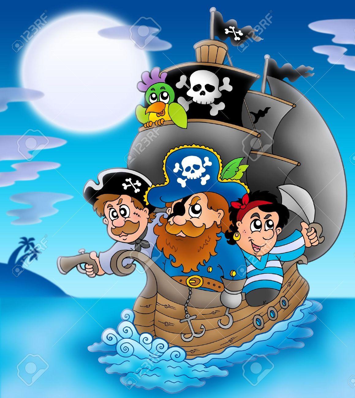Velero con piratas de dibujos animados. | piratas | Pinterest ...