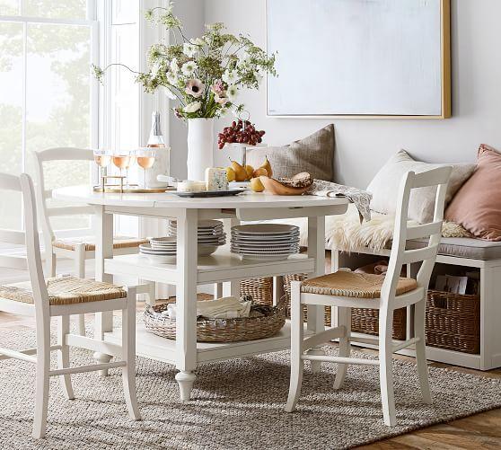 Shayne Round Drop Leaf Kitchen Table 49 X 26 Antique White
