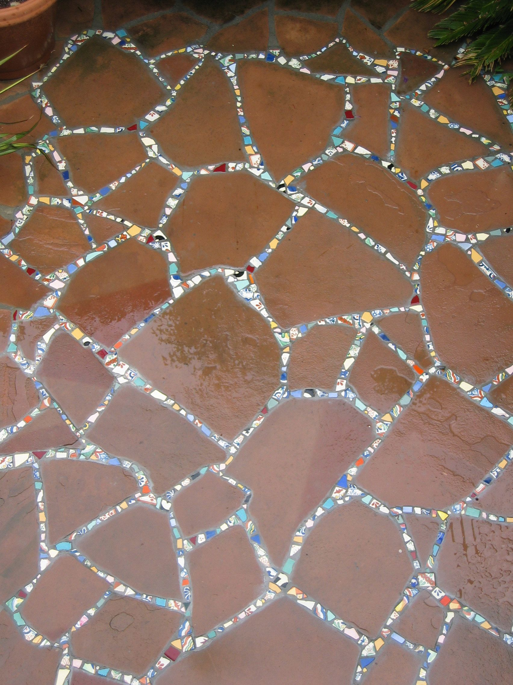 Flagstone And Mosaic Patio Detail