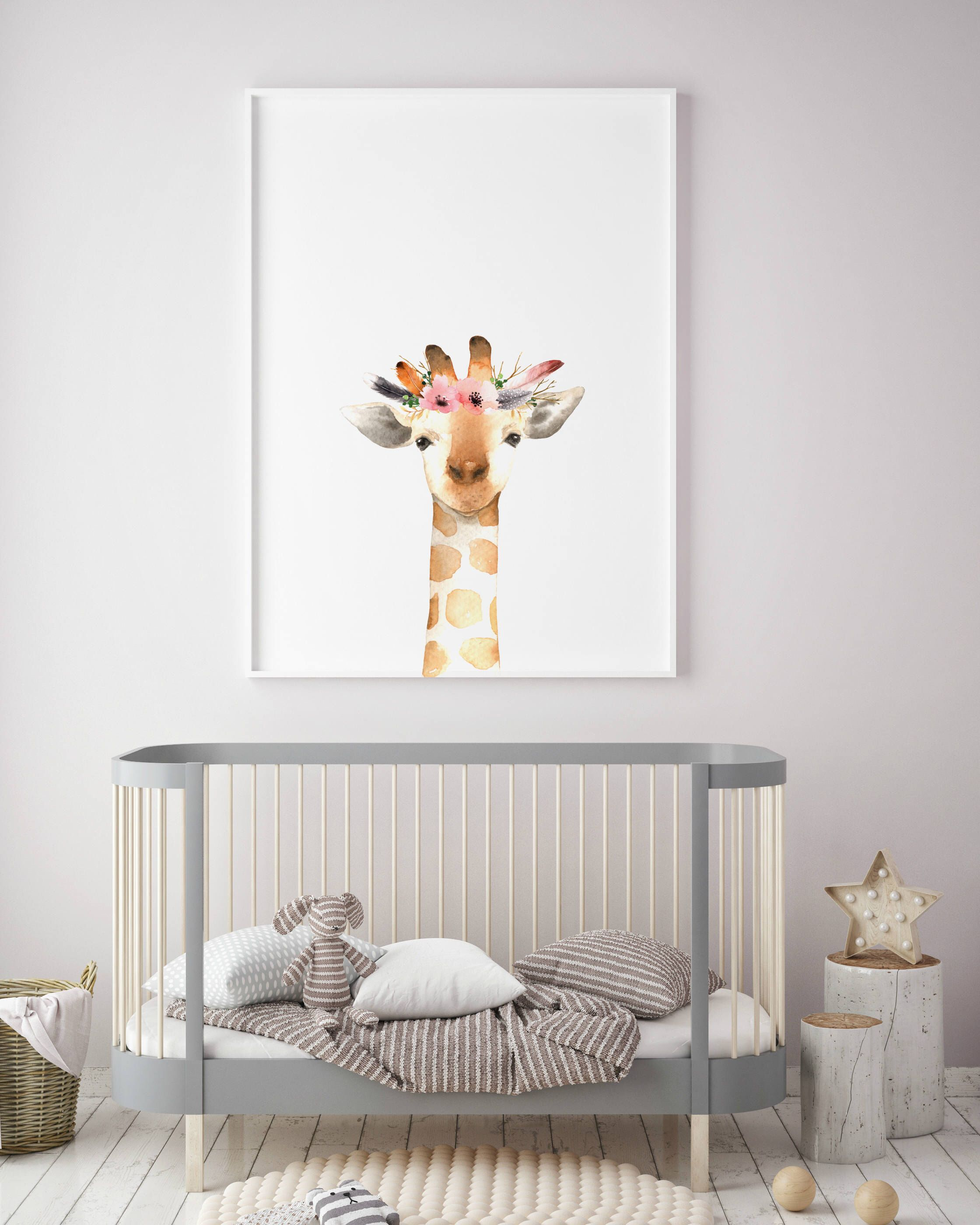 Giraffe animal nursery decor nursery wall art printable art animal prints nursery safari prints giraffe print rabbit print deer print
