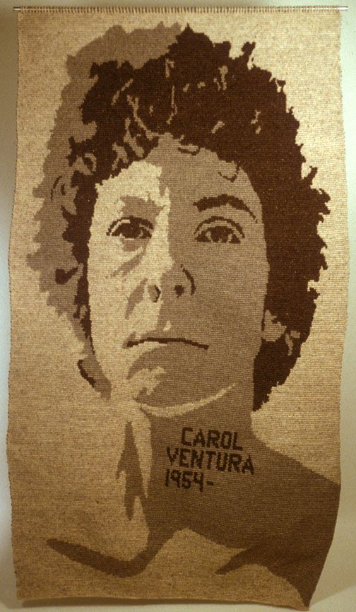 Carol Ventura Self portrat on a flat tapestry crochet