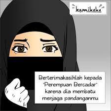Kartun Hijab Cadar Bertopi