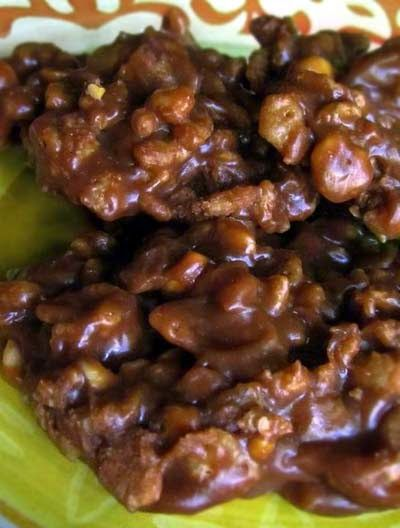 No Bake Cookies With Peanut Butter Rice Krispies And Chocolate Recipe No Bake Cookies Food Dessert Recipes