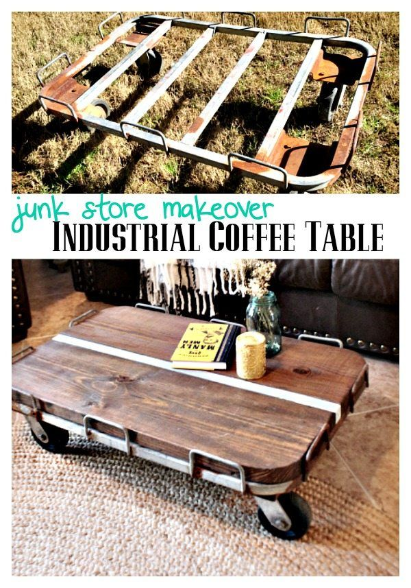 Repurposed - Industrial Coffee table DIY from junk store find at RefreshRestyle.com