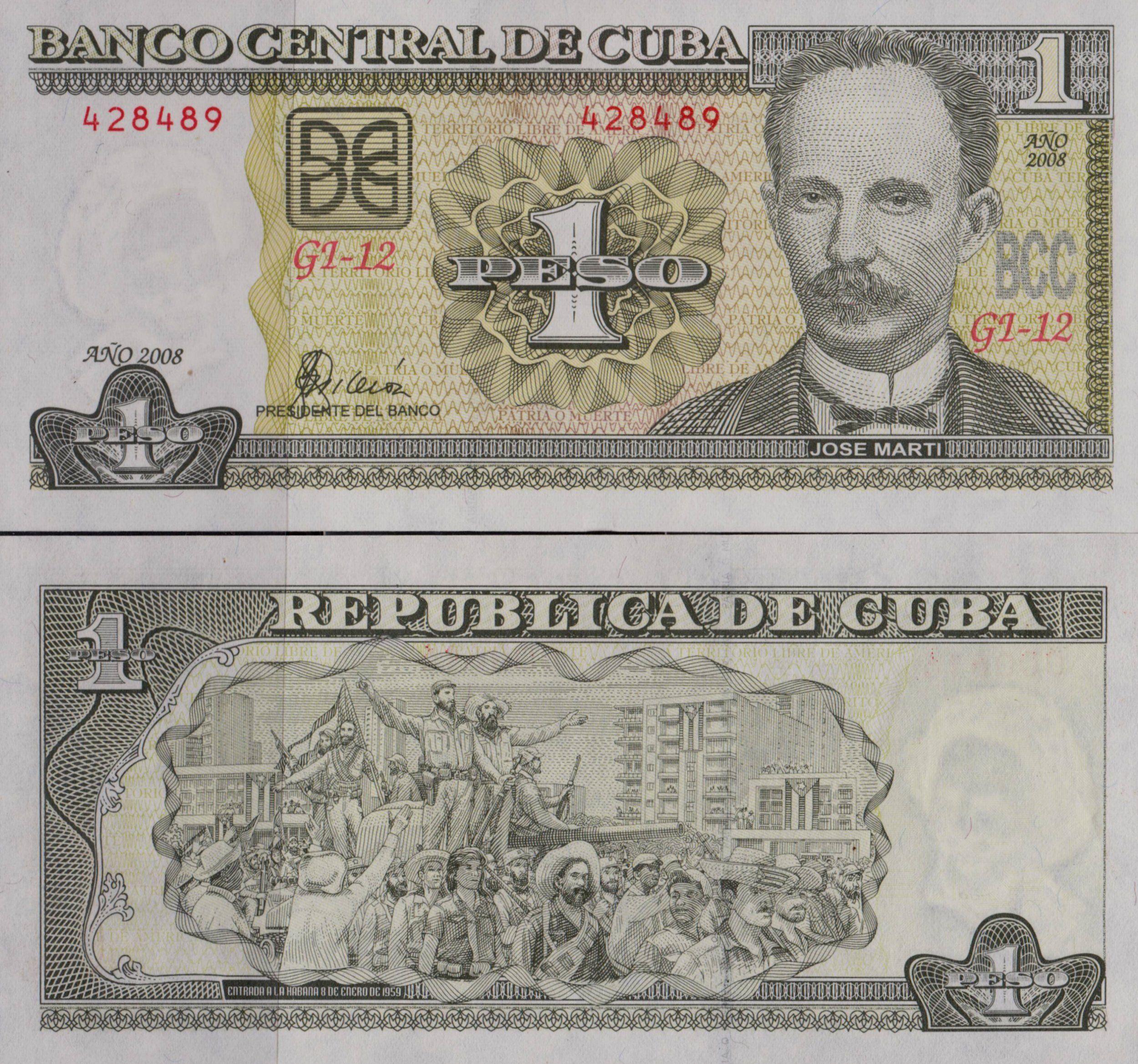 Cuba Banknote Jose Marti 1 Peso Crispy Unc