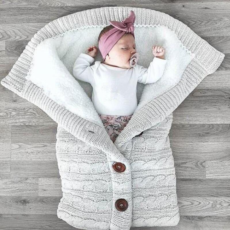 Newborn Sleepsacks Wrap Baby Thickened Knitted Wool Sleeping