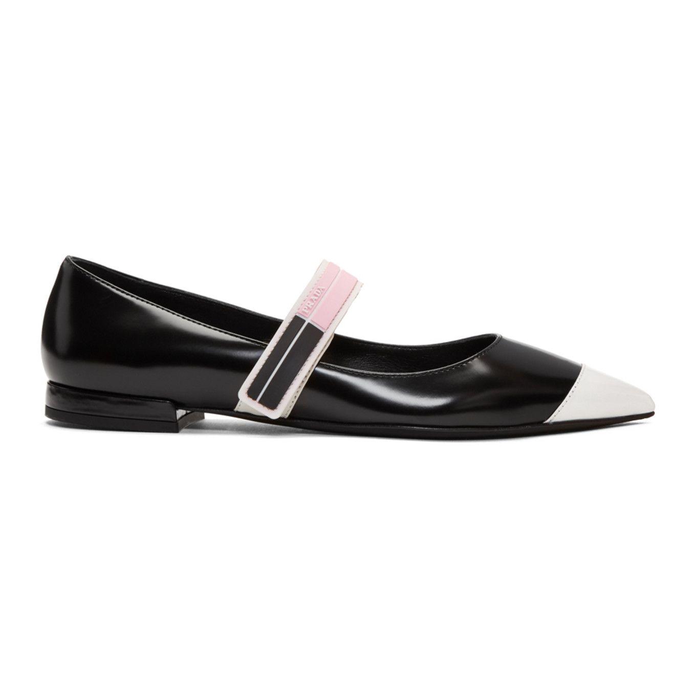 Prada Black & White Ballerina Flats VcWNdblgSj
