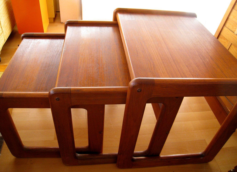 Danish Modern Teak Nesting Tables Scandinavian Mid Century Modern Vintage  Koefoeds Hornslet Era Mad Men