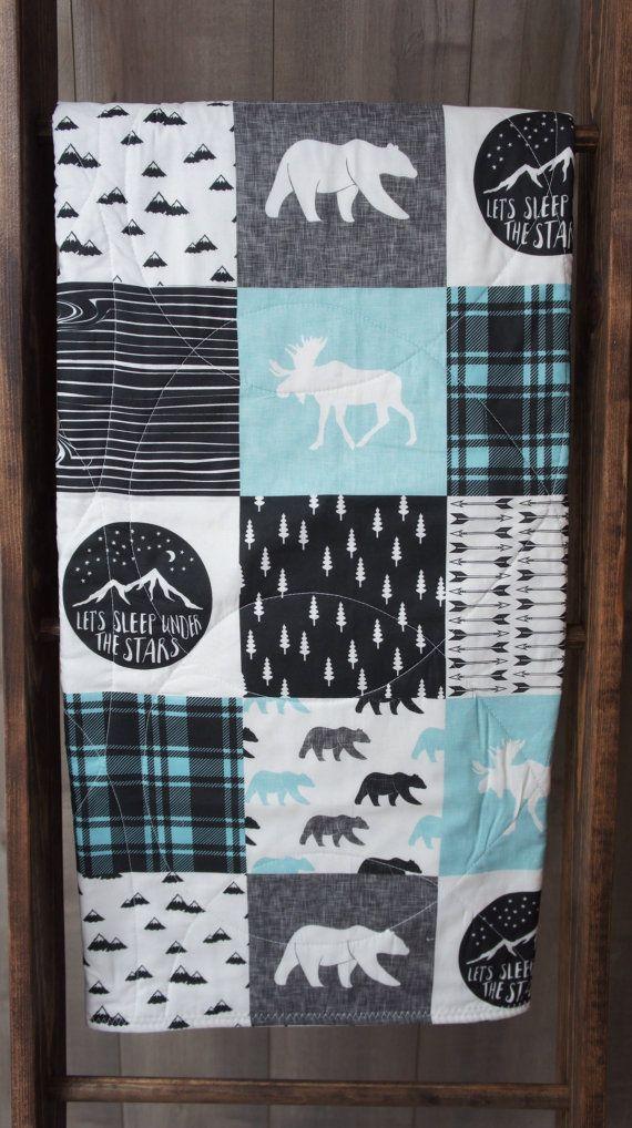 Woodland Quilt Baby Boy Blanket Baby Boy Quilt Patchwork Minky Nursery Crib Bedding Navy Green Gray Grey Moose Bear Plaid Adventure