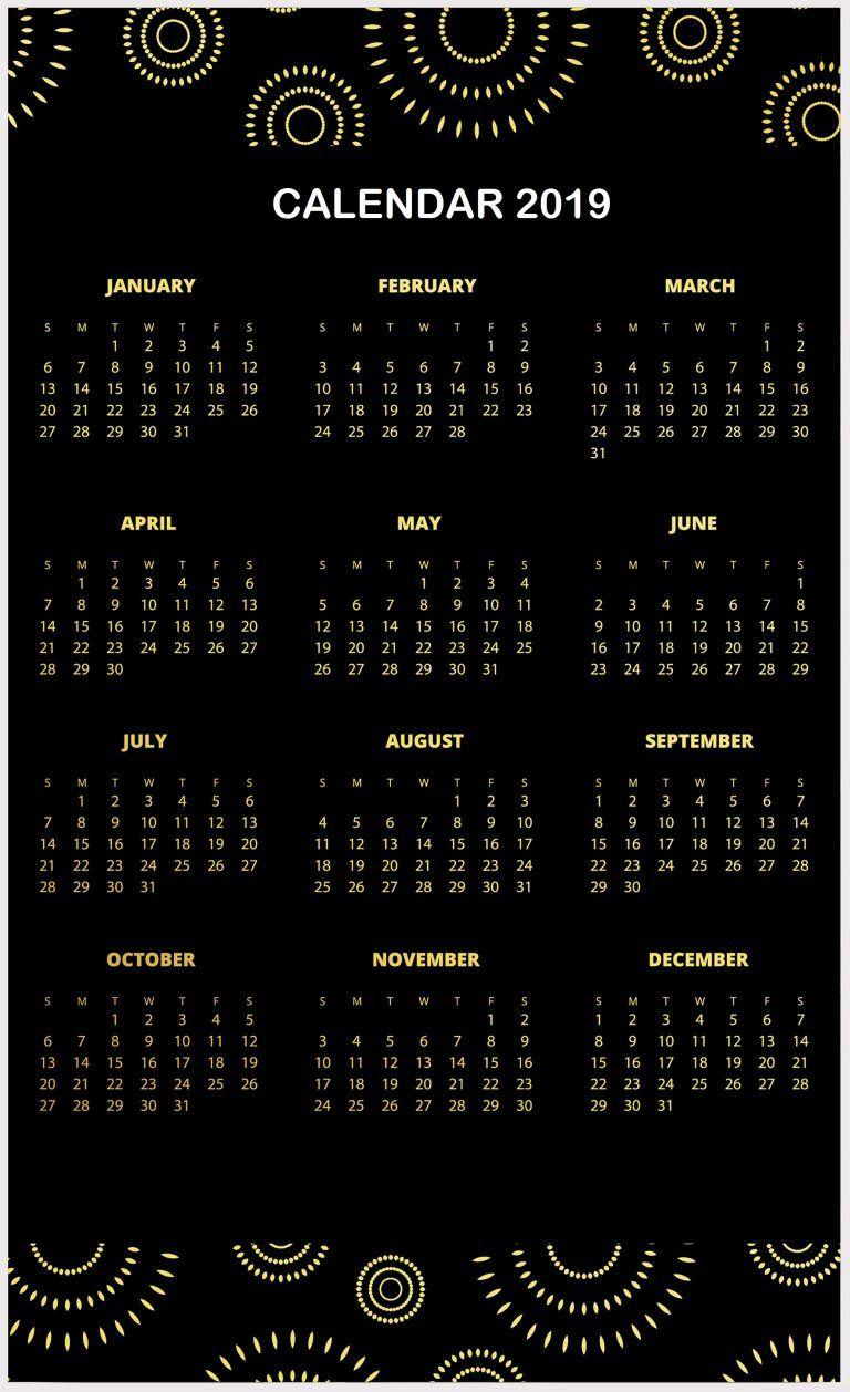 black and golden 2019 pattern hd calendar