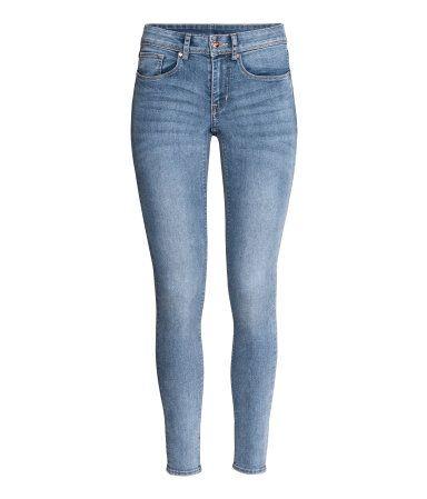 Super Skinny Regular Jeans   Mellom denimblå   Dame   H&M NO