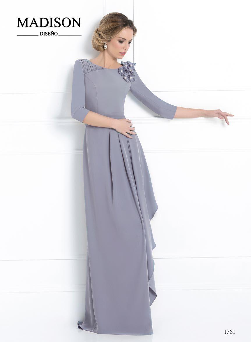 b90a50ab4 vestido de madrina y fiesta largo gris