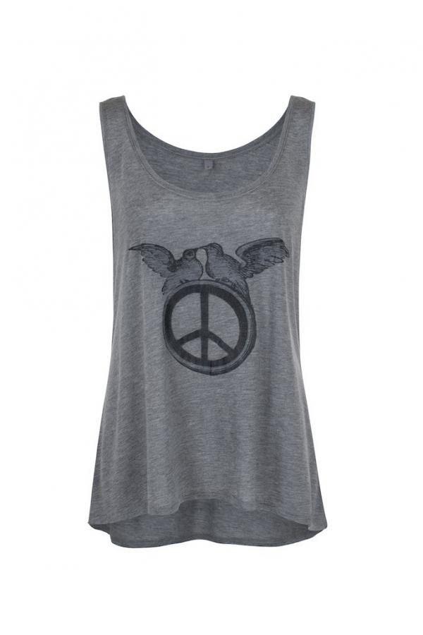 Peace doves on a peace sign, the doves are vintage artwork from the 1880s and printed on a 100% fine jersey grey vest.