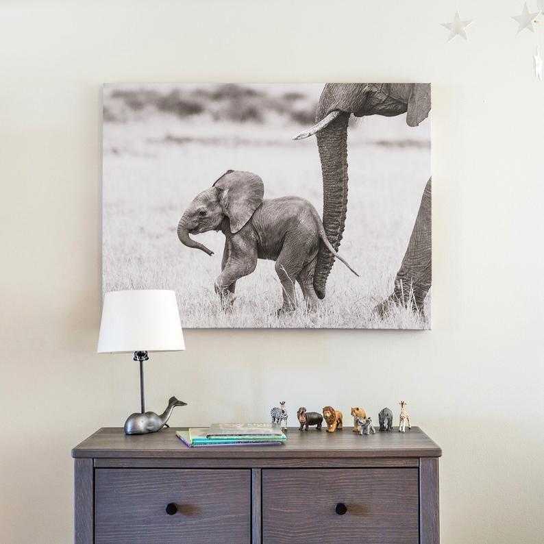 Photo of Baby Animal Nursery Art Print, BABY ELEPHANT PHOTO, Black and White Print, Baby Animal Photography, African Safari, Safari Baby Nursery, Zoo