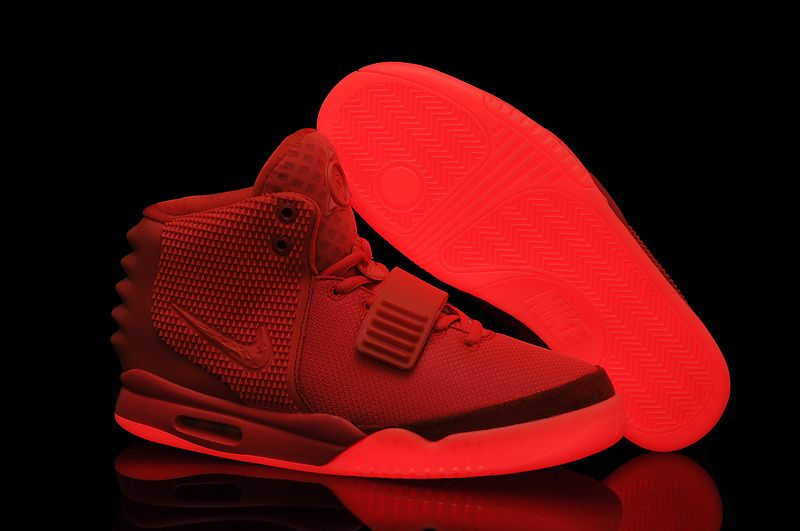 Brand Air Yeezy 2 Sneakers Kanye West Men Fashion Shoes Red October lighted  bottom