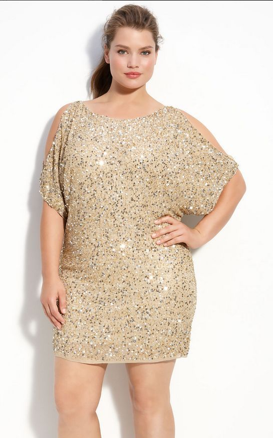 Details about Aidan Mattox Inspired Gold Cold Shoulder Sequin ...