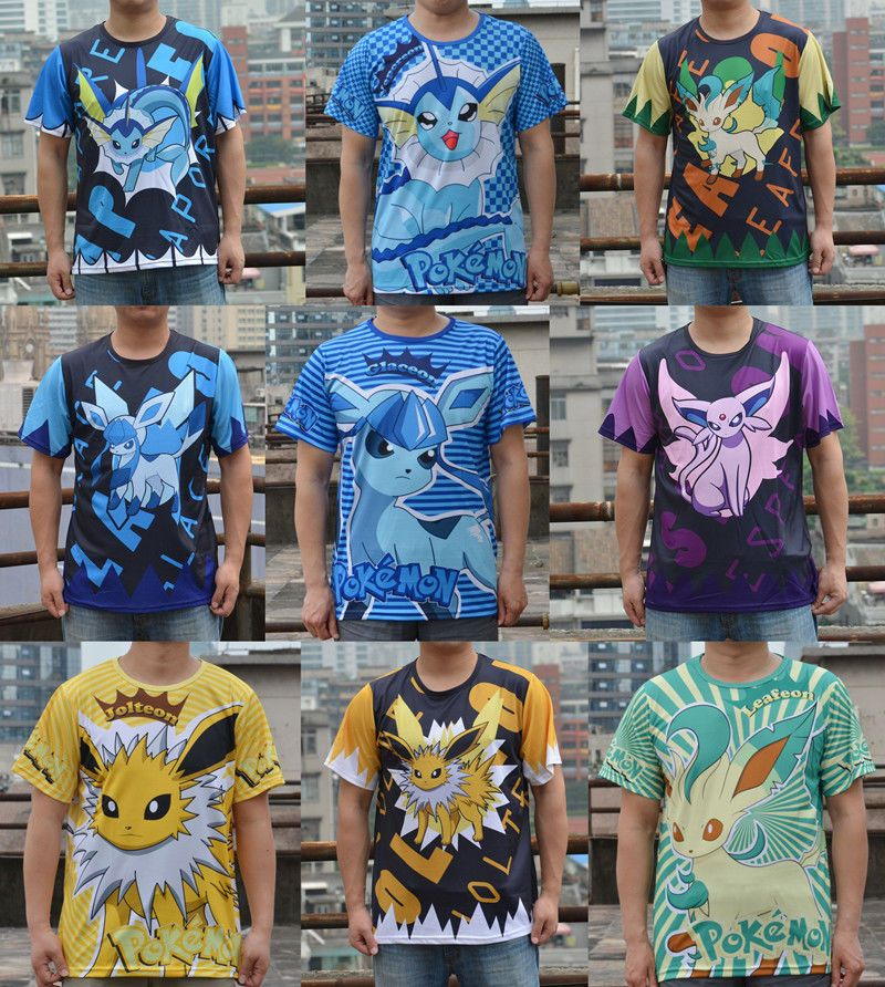 f0c8ef026 Pokemon Eevee Evolutions Umbreon Jolteon Glaceon Leafeon T shirt 10Style
