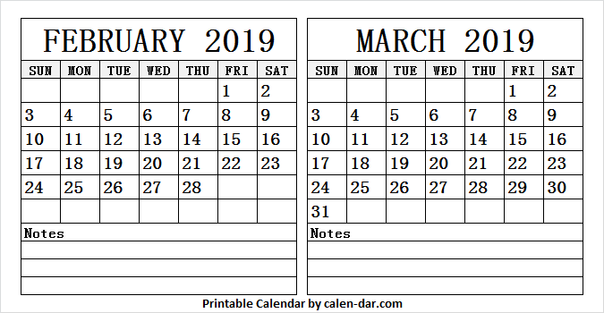 Printable Two Month Calendar 2019 February March 2 Month Calendar 2019 February March | February 2019 Calendar