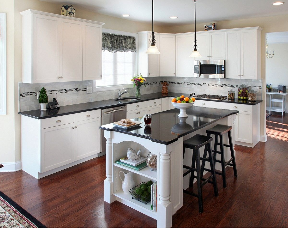 kitchen white cabinets dark countertops - Google Search | home ...