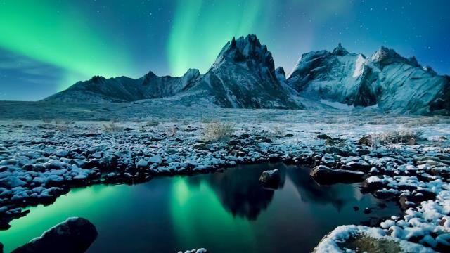 Aurora Borealis over Tombstone Territorial Park, Yukon, Canada - new blueprint alberta northern lights
