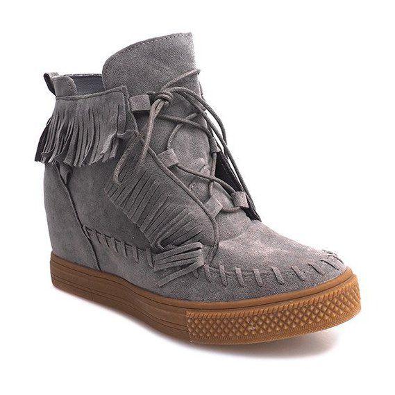 Trampki Damskie Butymodne Sneakersy Na Koturnie Z Fredzlami Boho F3 Szare Wedge Sneakers Boots Boot Shoes Women