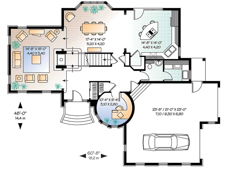 Plan 21167dr Elegant 3 Bed House Plan With Distinctive Turret House Plans House Floor Plans House Blueprints
